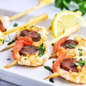 Prawn and Chorizo Skewers with lemon slice