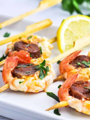 Prawn and Chorizo Skewers with lemon slice