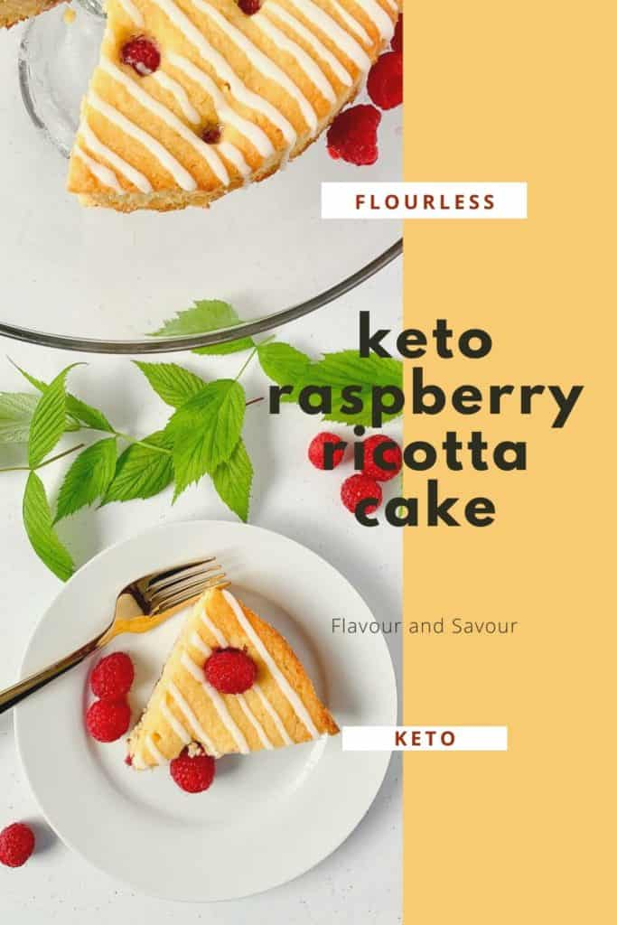 Keto Raspberry Lemon Ricotta Cake graphic with text overlay