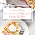Text Overlay on Strawberry Rhubarb Crumble Pie
