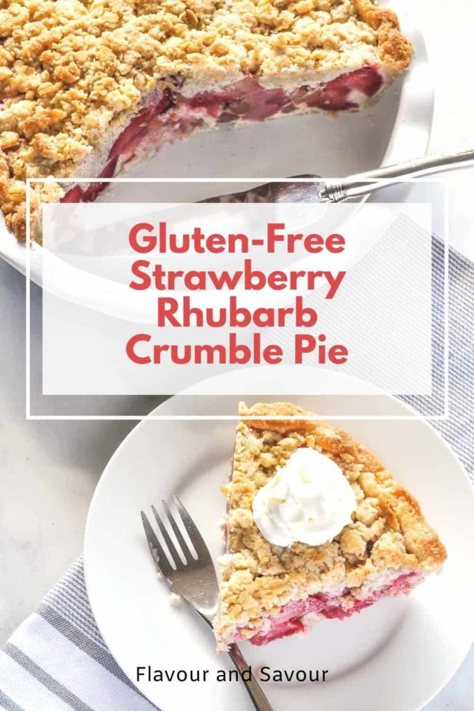 Pinterest pin for Strawberry Rhubarb Crumble Pie