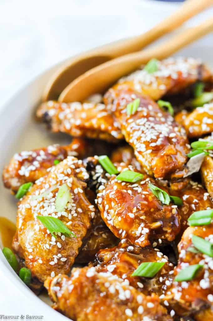 Close up view of Air Fryer Teriyaki Chicken Wings