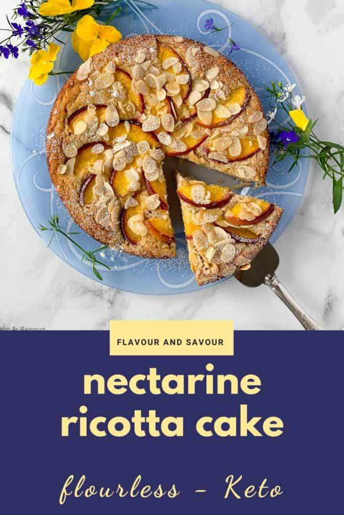 Flourless Nectarine Ricotta Cake with text overlay