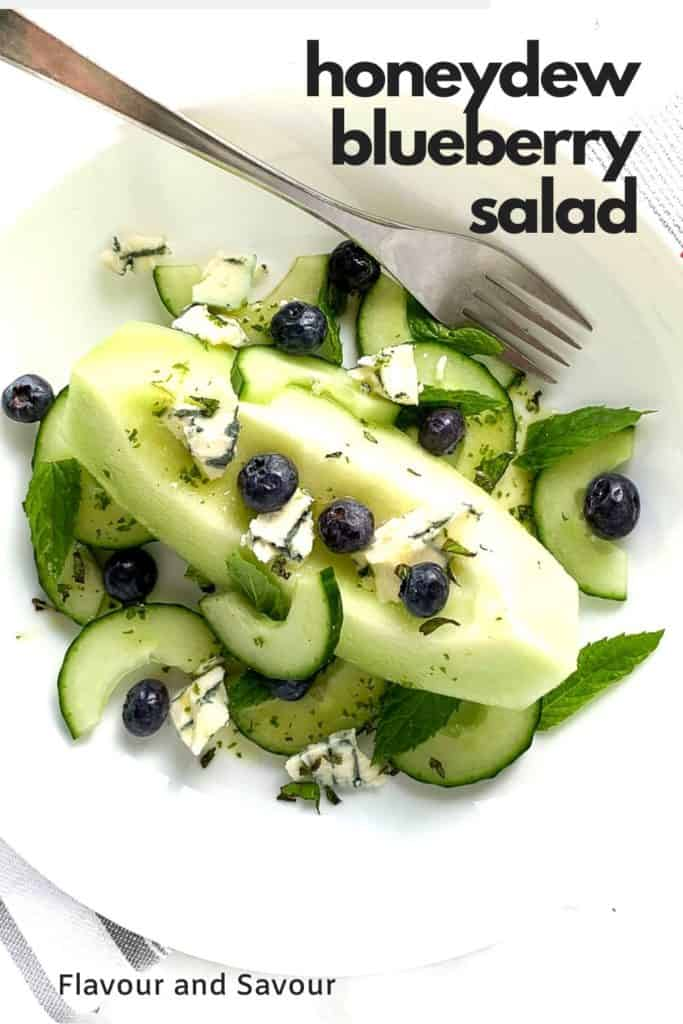Honeydew Blueberry Salad with text overlay
