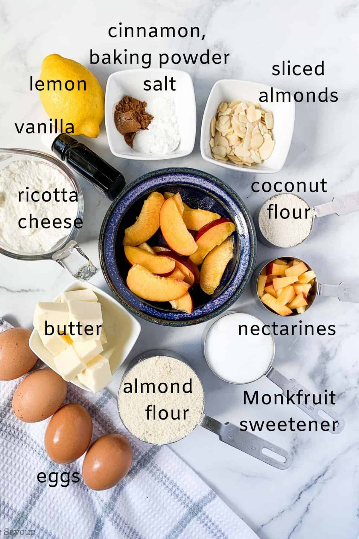 Labeled Ingredients for Flourless Nectarine Ricotta Cake