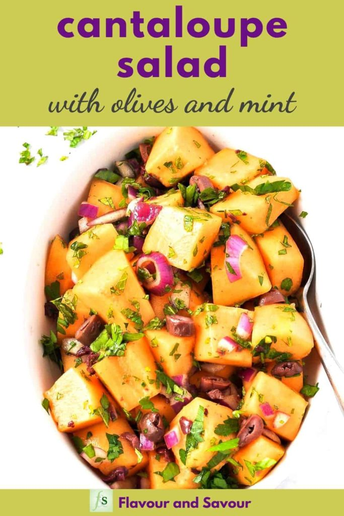 Pinterest Pin for Mediterranean Cantaloupe Salad with text overlay