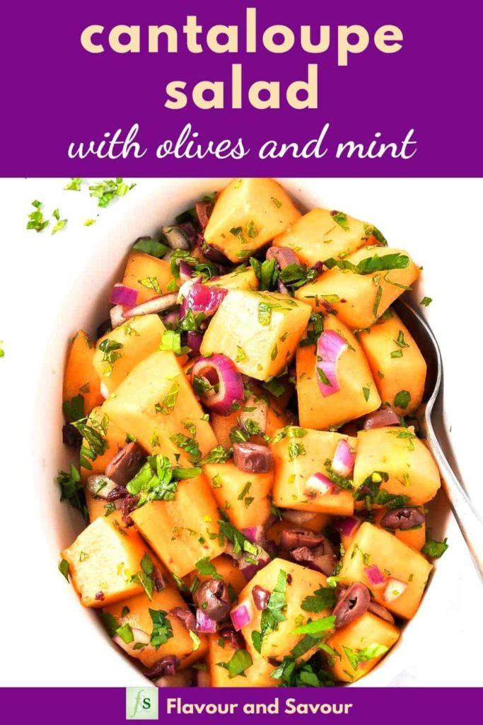 Pinterest Image for Mediterranean Cantaloupe Salad with text overlay