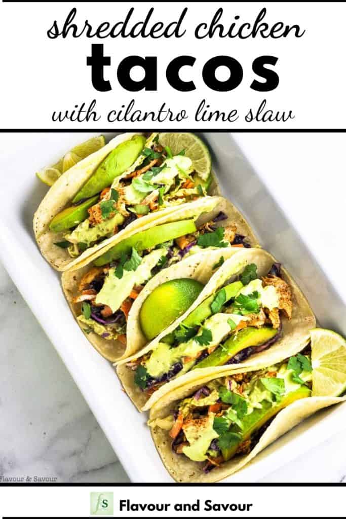 Shredded Chicken Tacos with text overlay 2