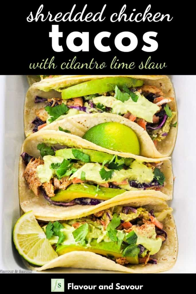 Shredded Chicken Tacos with text overlay