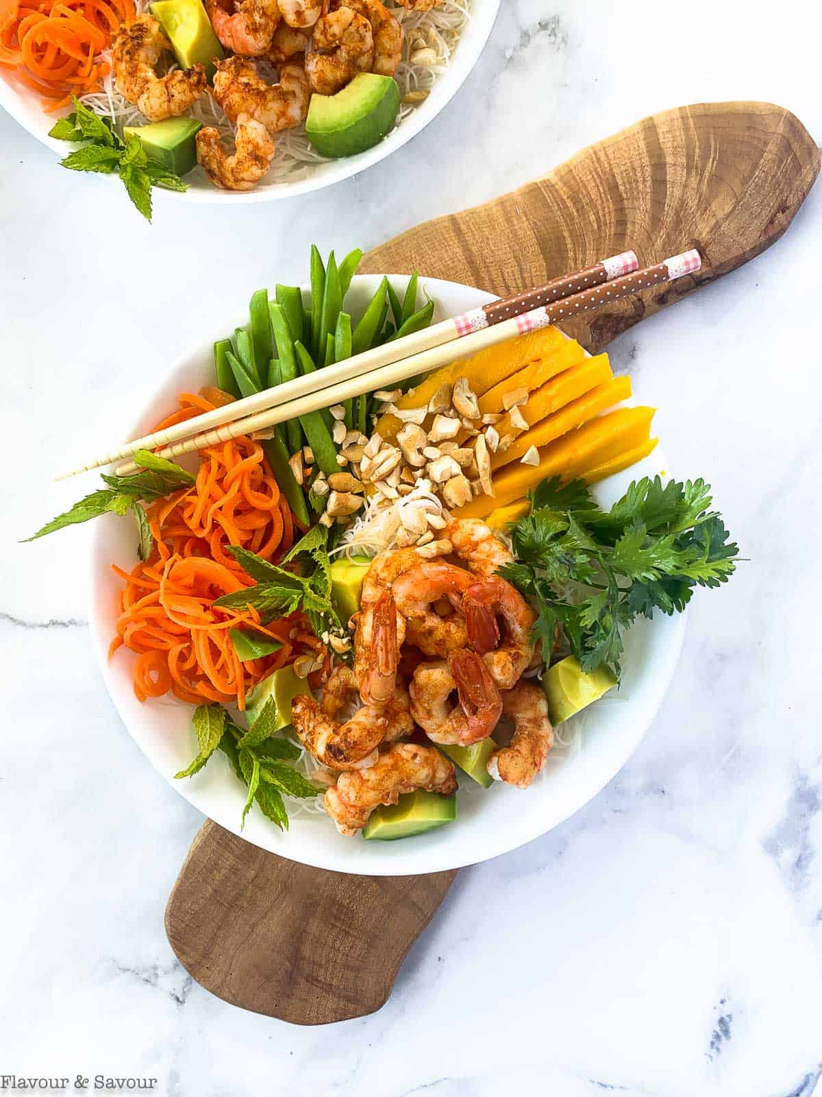 Vietnamese Prawn (Shrimp) Noodle Bowl on a board
