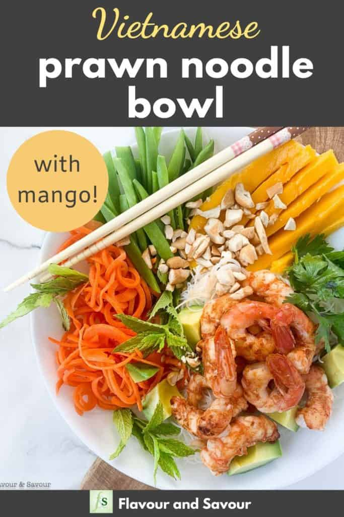 Vietnamese Prawn Noodle Bowl with text overlay