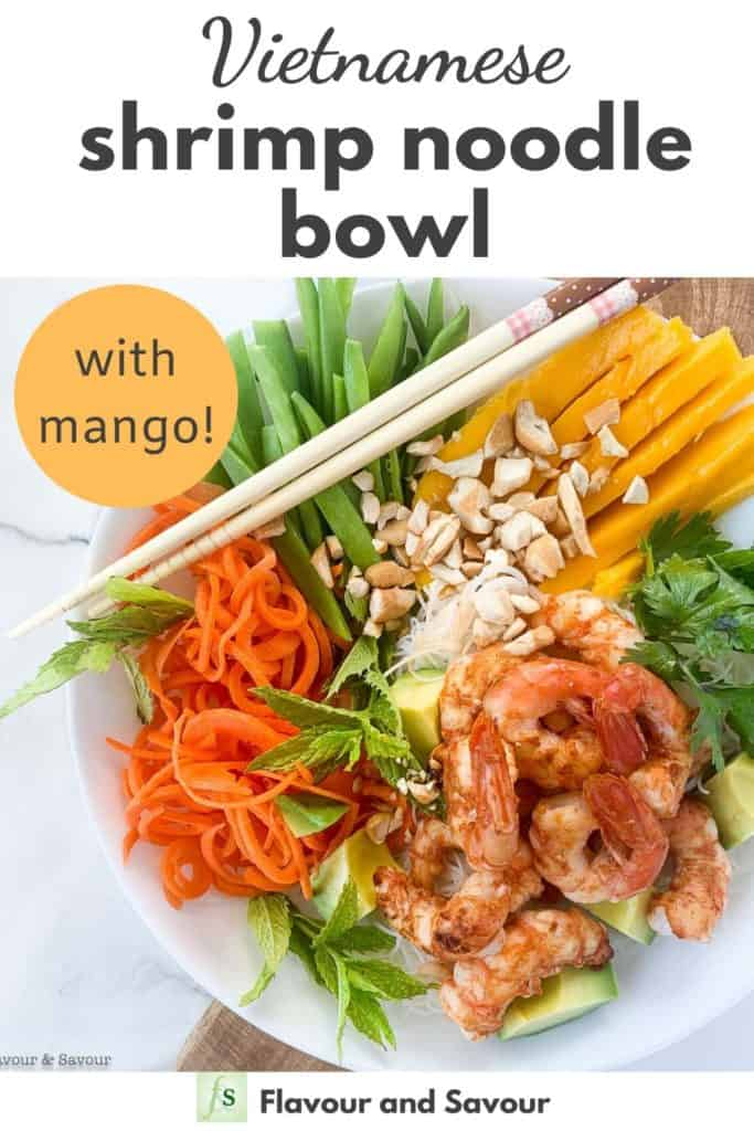 Shrimp Noodle Bowl with text overlay