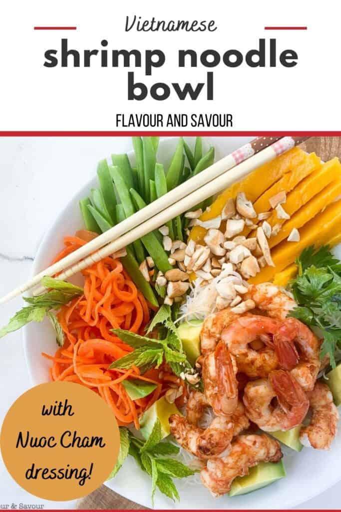 Pinterest image with text for Vietnamese Shrimp Noodle Bowl