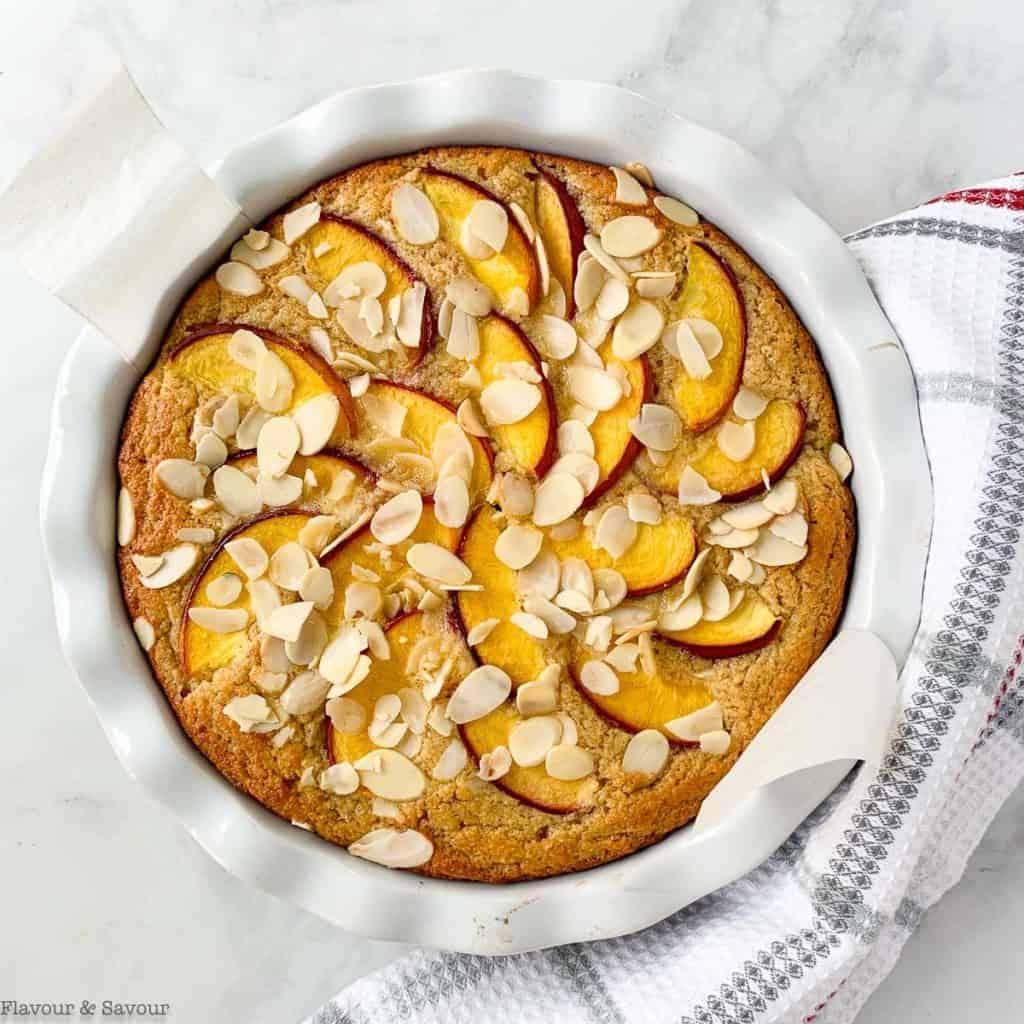 Baked Nectarine Ricotta Cake in a cake pan