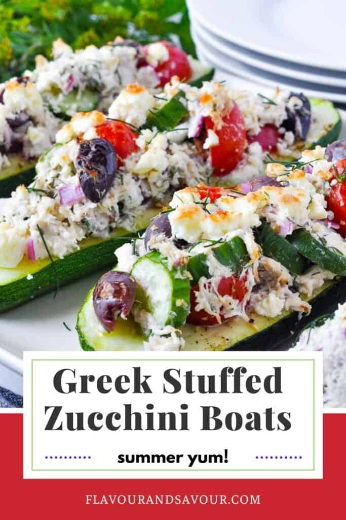 image and text for Greek Chicken Stuffed Zucchini Boats