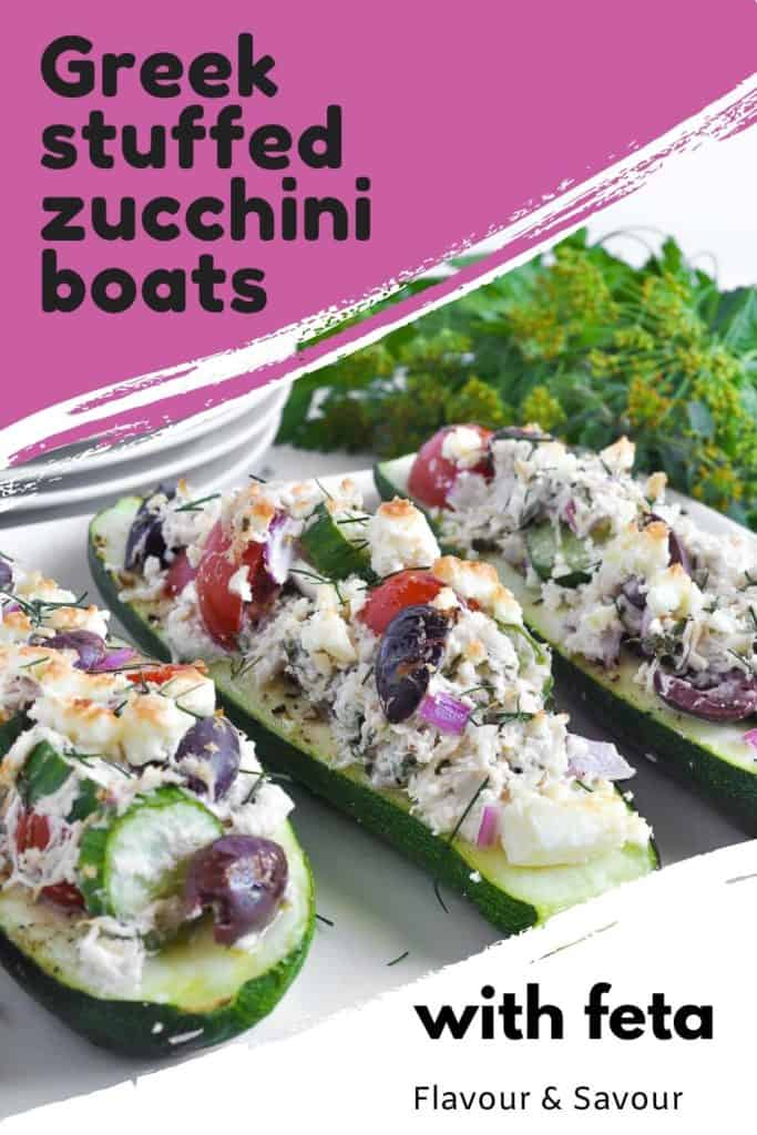 Pinterest image for Greek Chicken Stuffed Zucchini Boats with text overlay