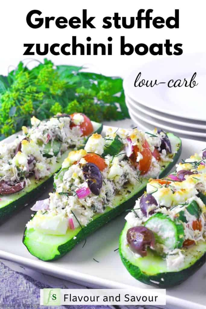 Greek Chicken Stuffed Zucchini Boats text overlay