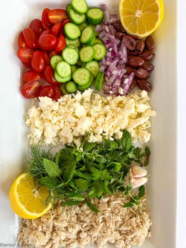 Ingredients for Greek Chicken Stuffed Zucchini Boats