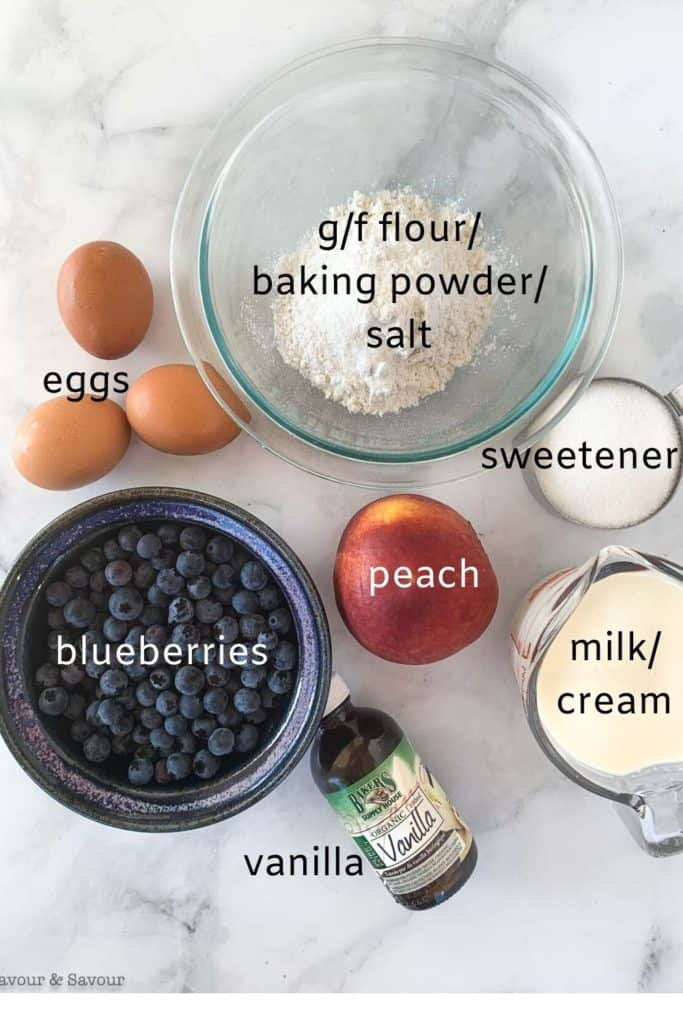 labeled image of ingredients for Blueberry Peach Clafoutis