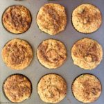 overhead view of gluten-free Zucchini Banana Muffins in muffin tin