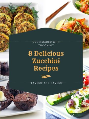 Text Overlay on 8 Delicious Zucchini Recipes
