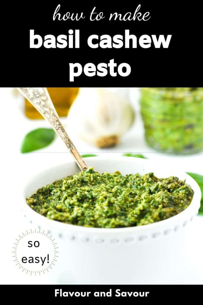 How to make basil cashew pesto graphic with text overlay