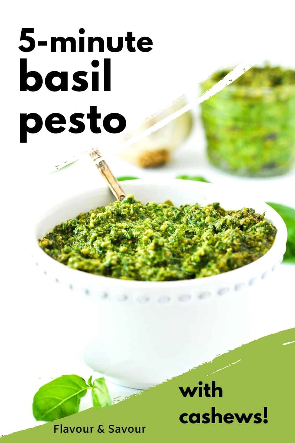 Graphic for 5 minute basil pesto with text overlay