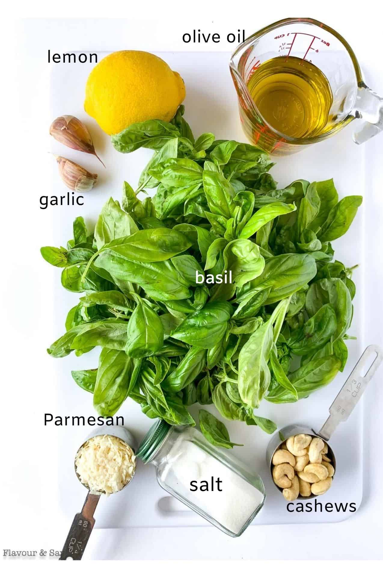 ingredients for basil cashew pesto