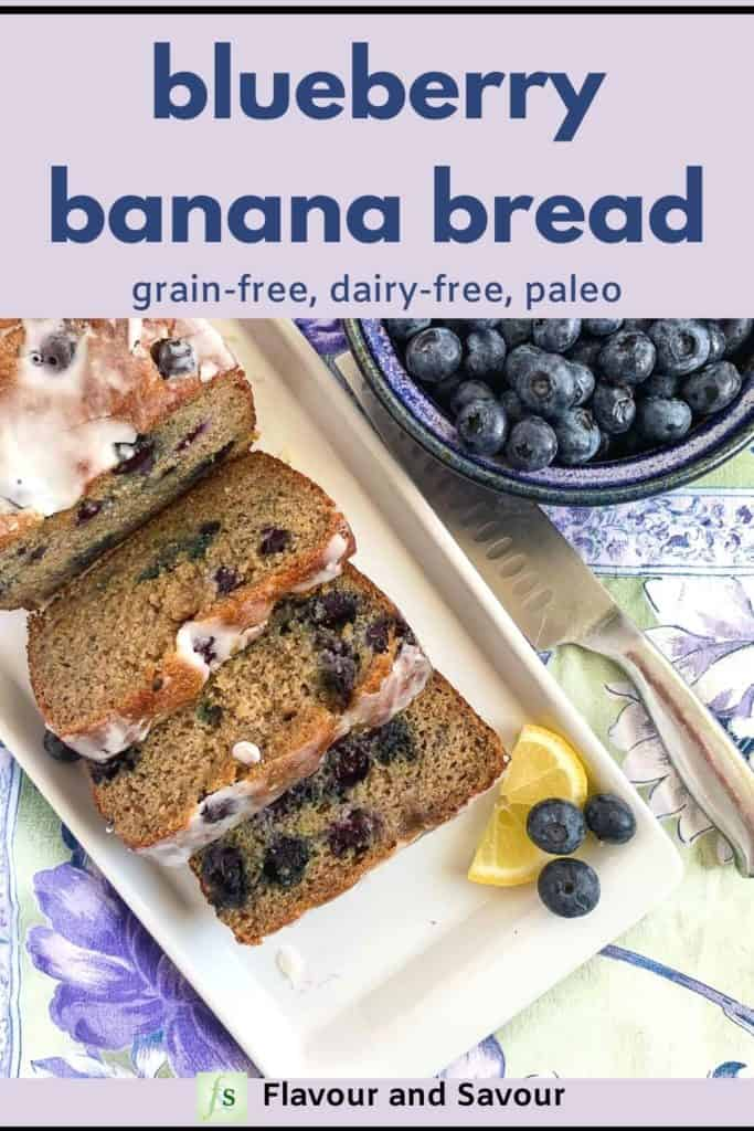 Blueberry Banana Bread Grain-Free Dairy-Free with text overlay