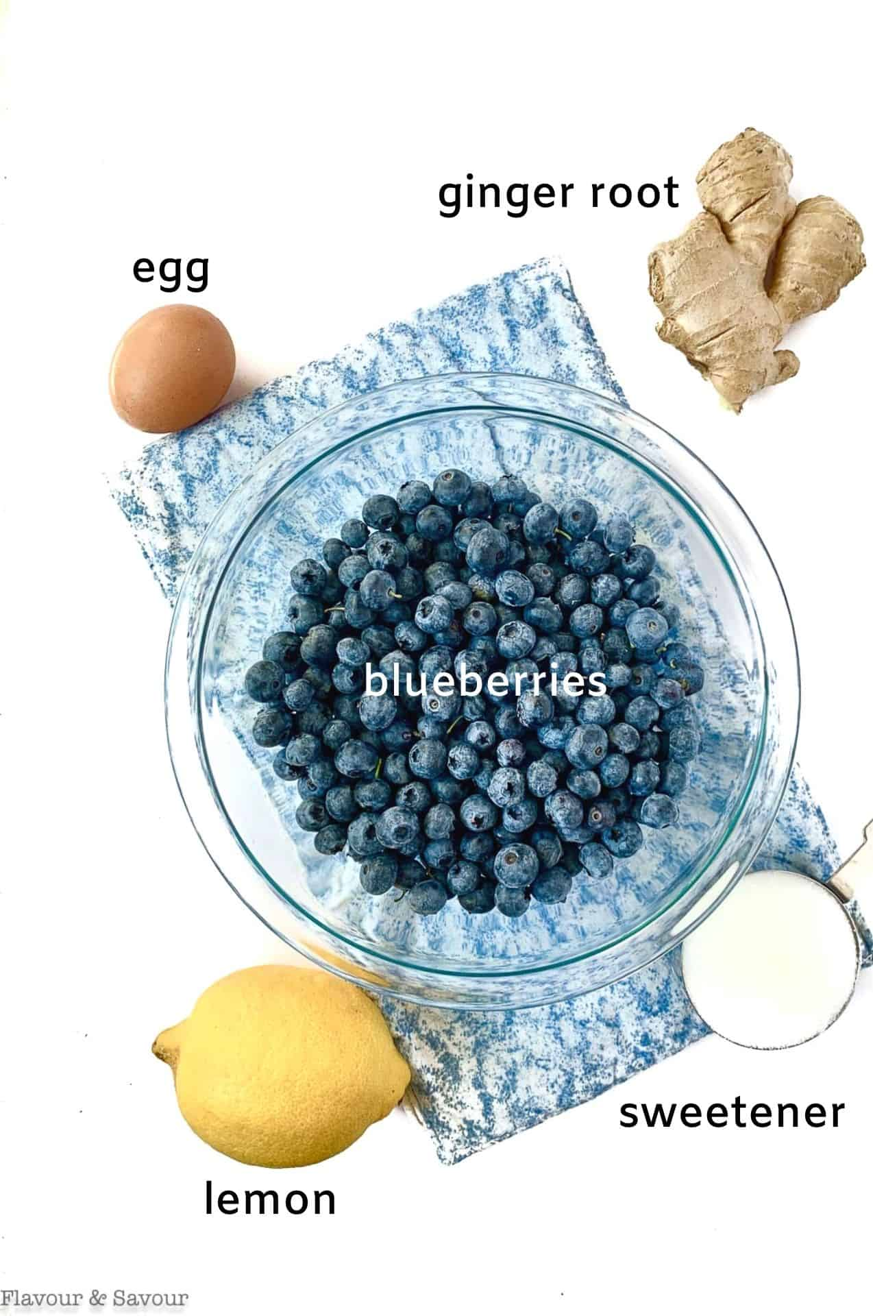 Labeled ingredients for Blueberry Lemon Ginger Galette