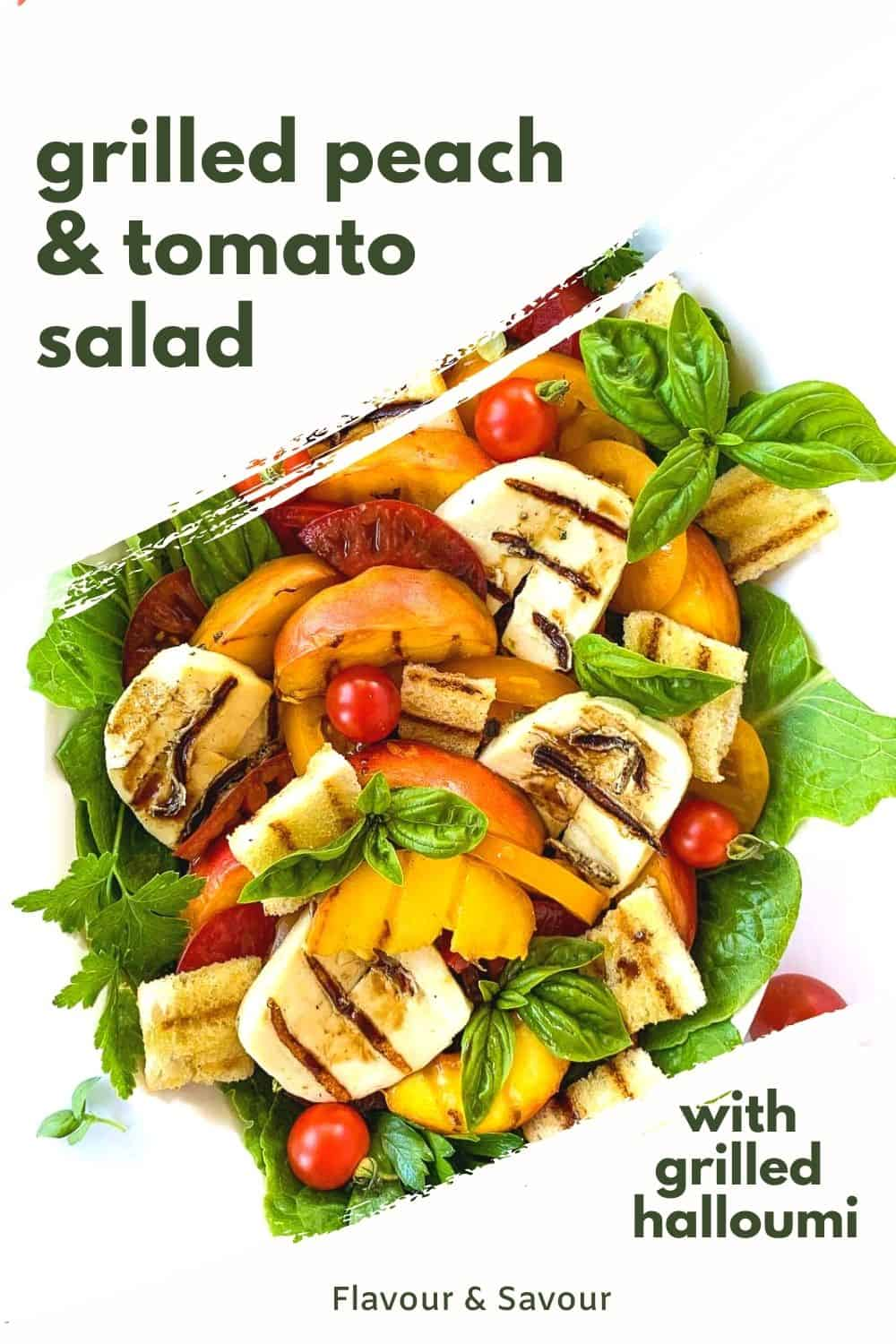 Graphic for Grilled Peach and Tomato Salad with grilled halloumi