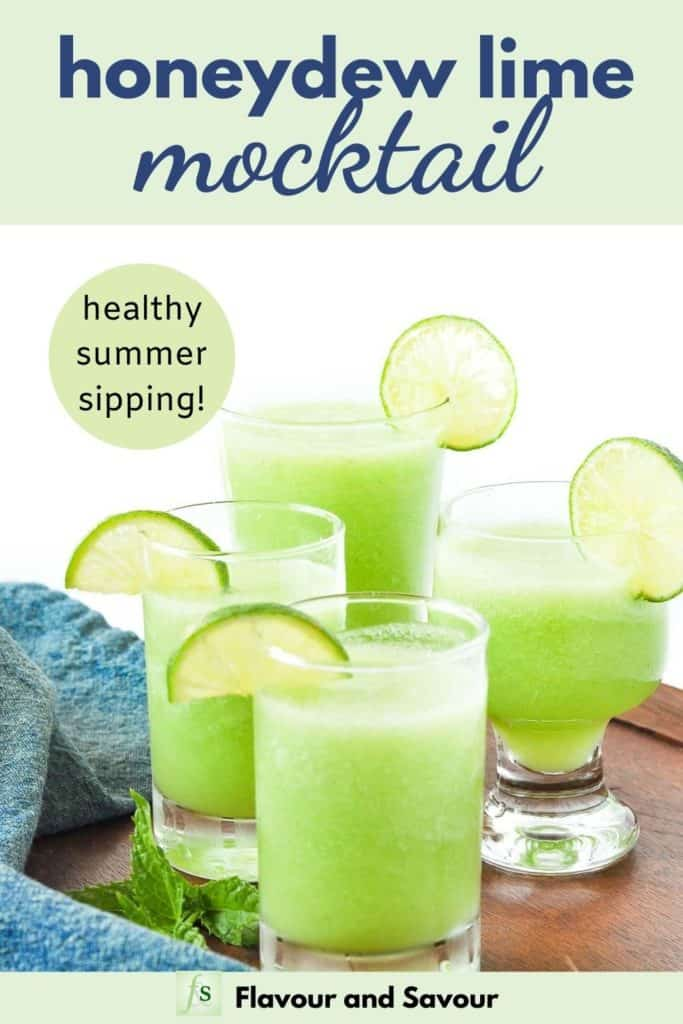 Honeydew Lime Mocktail with text overlay, healthy summer sipping