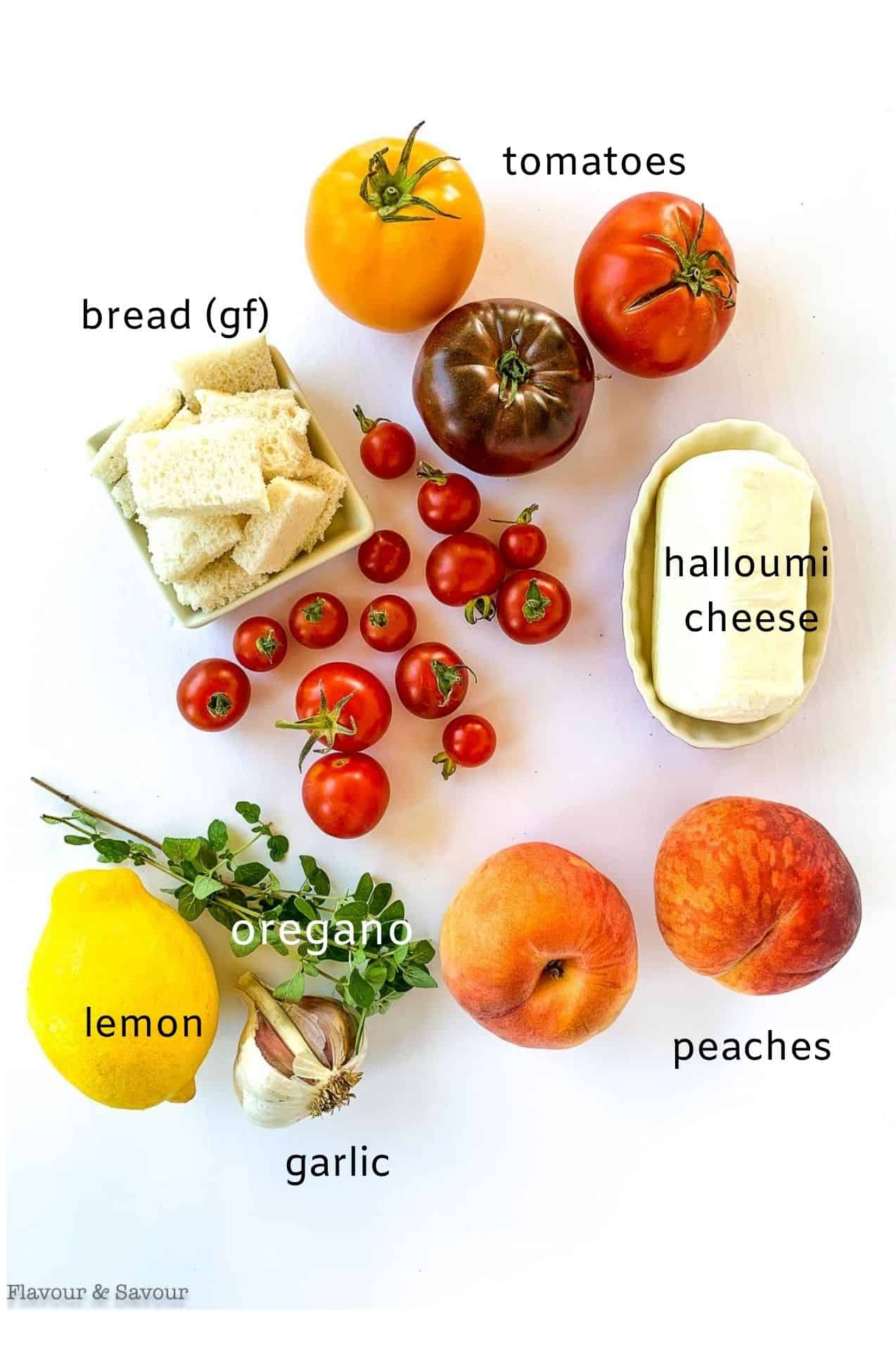 Labeled ingredients image for Grilled Halloumi Peach and Tomato Salad