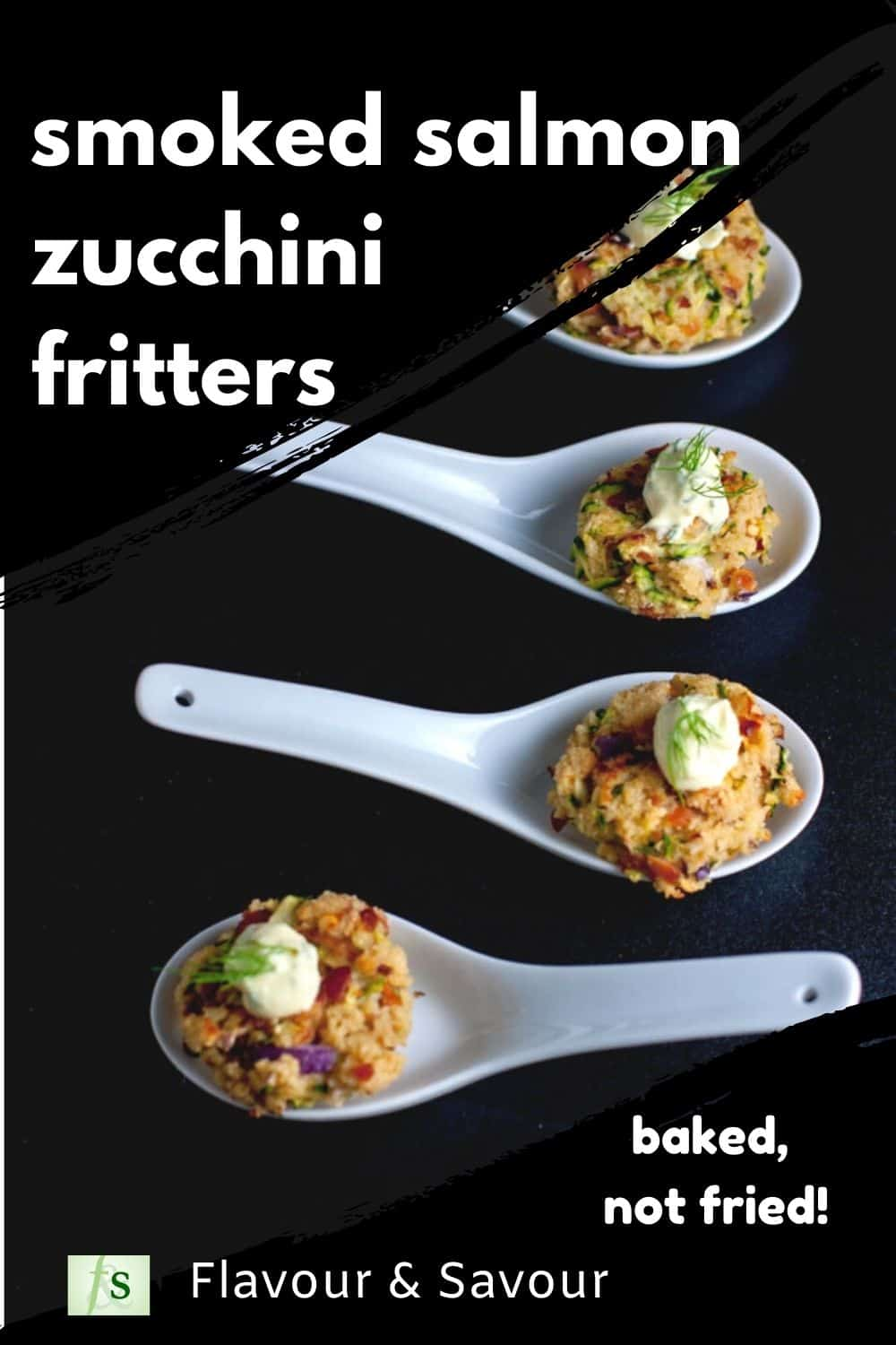 Smoked Salmon Zucchini Fritters with text overlay