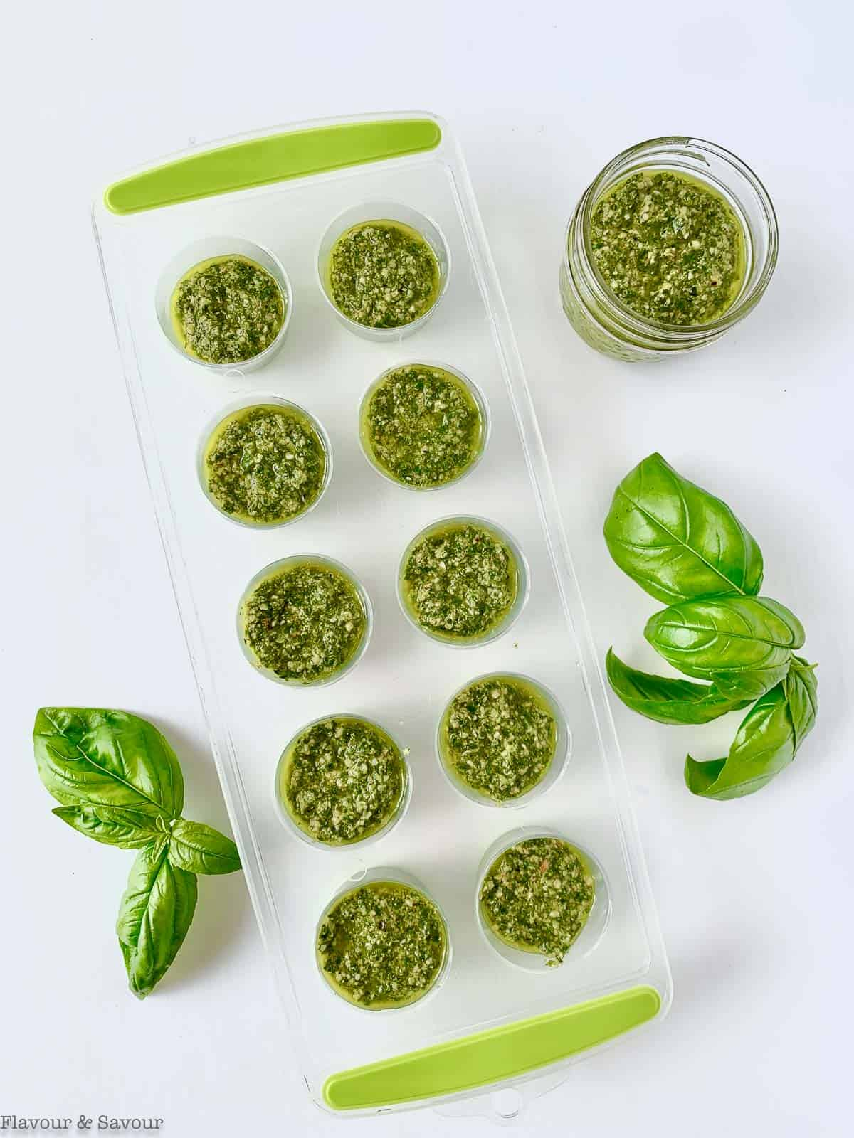 Basil pesto in ice cube tray