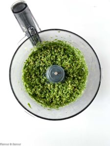 Processing Basil Pesto in a food processor
