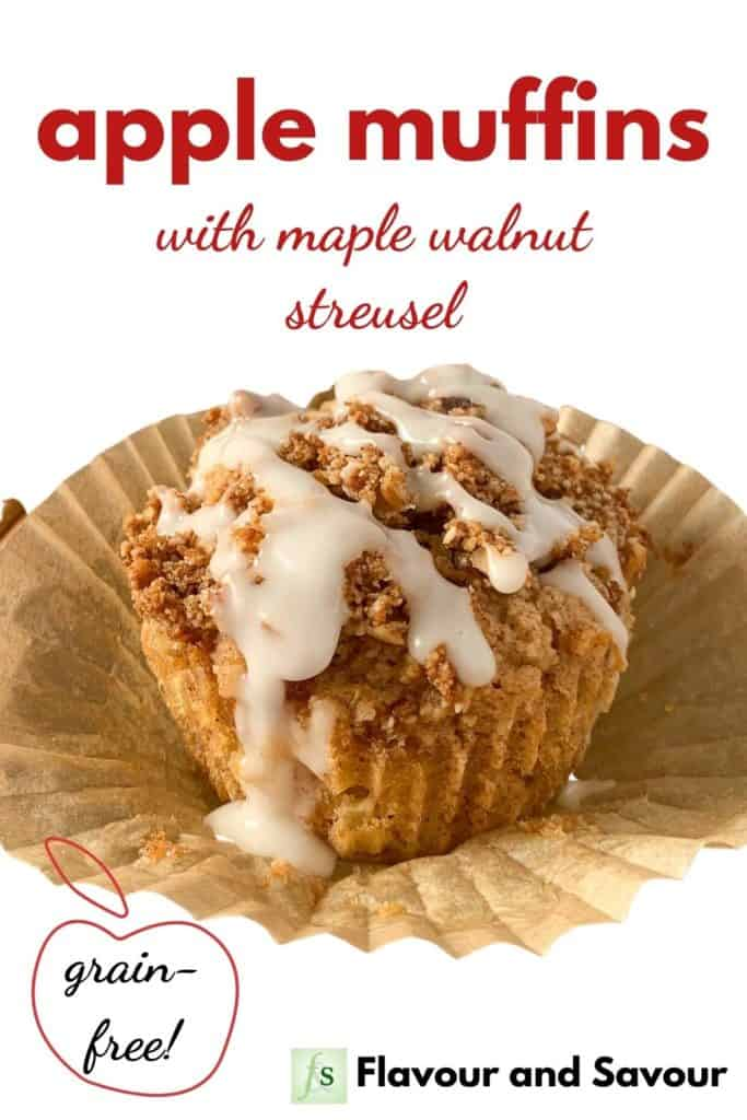 Image and text overlay for apple muffins with maple cinnamon streusel