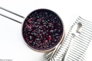 Bring blueberries, lemon juice, basil and jalapeño to a boil