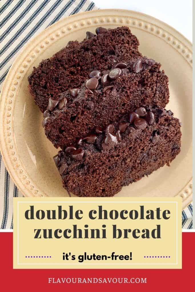Image with text for double chocolate zucchini bread