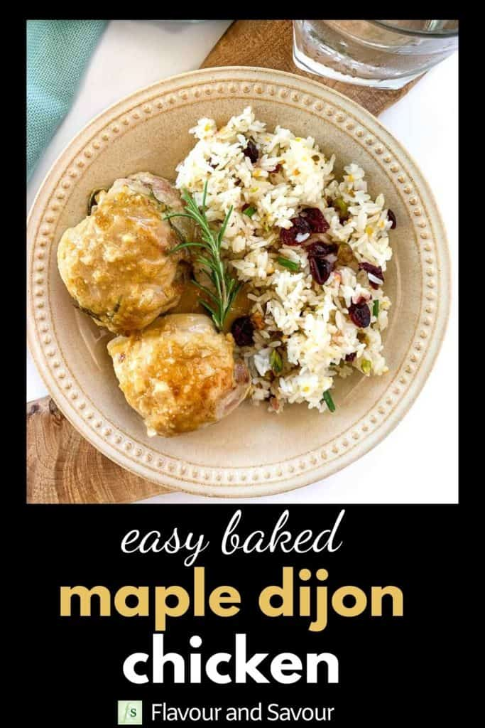 Easy Baked Maple Dijon Chicken with text overlay