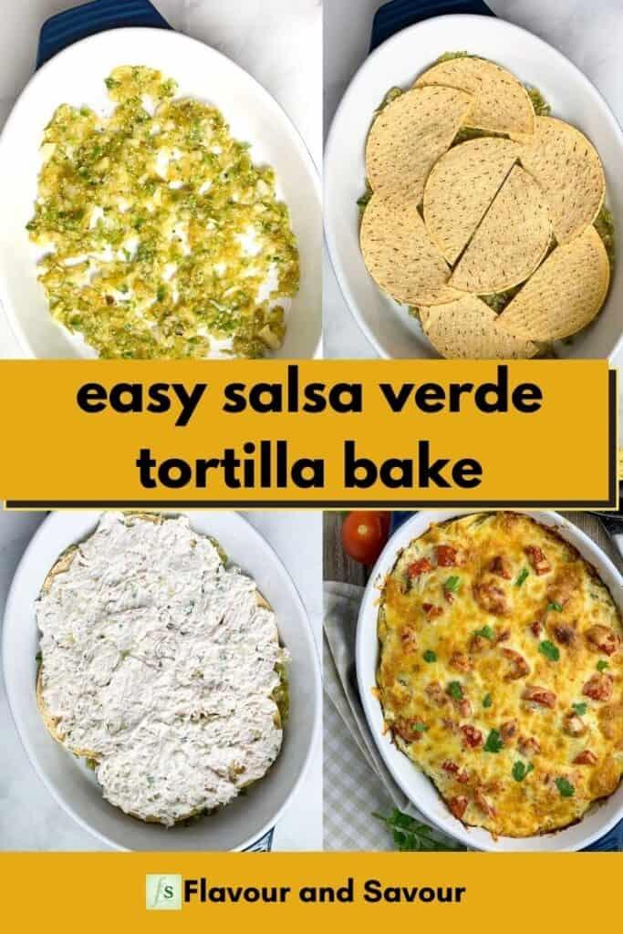 Collage pin for easy salsa verde chicken tortilla bake