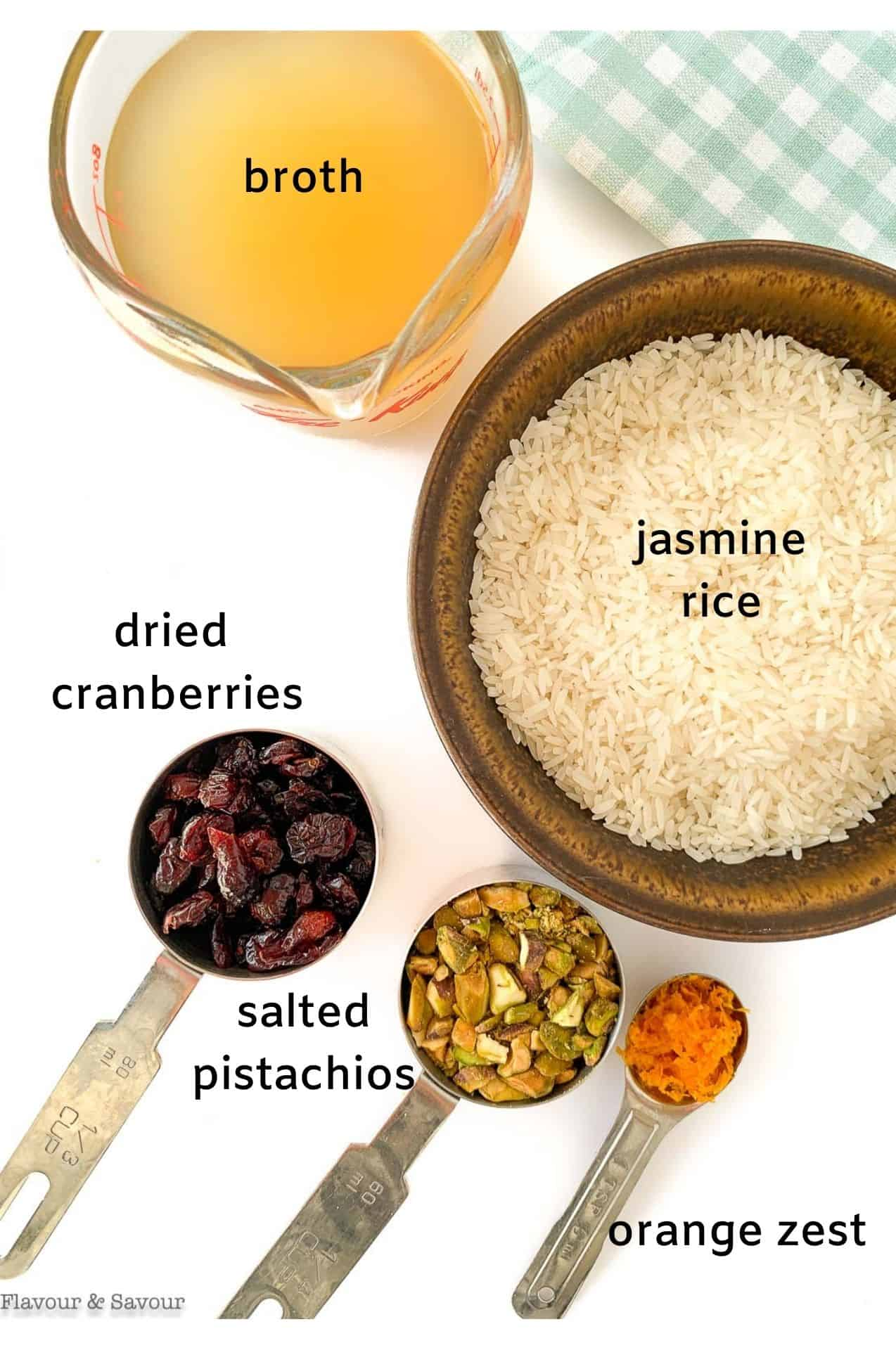 Labeled ingredients for Cranberry Pistachio Jasmine Rice