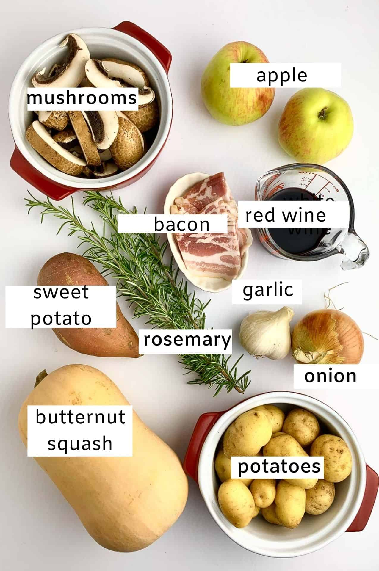 Labeled ingredients for Harvest  Chicken with Bacon, Rosemary and Apples