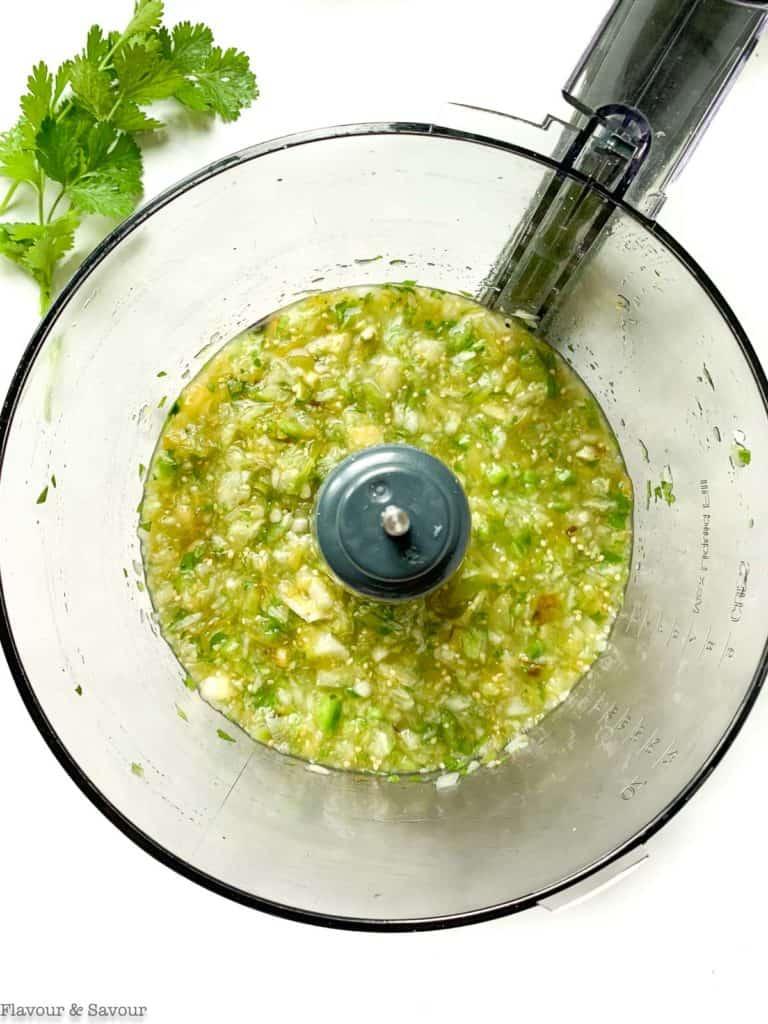 Salsa Verde in a food processor bowl