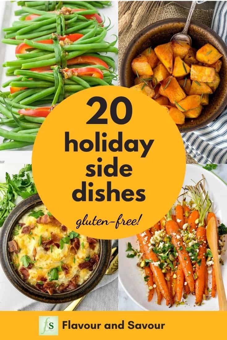 Graphic with text for 20 Holiday Side Dishes