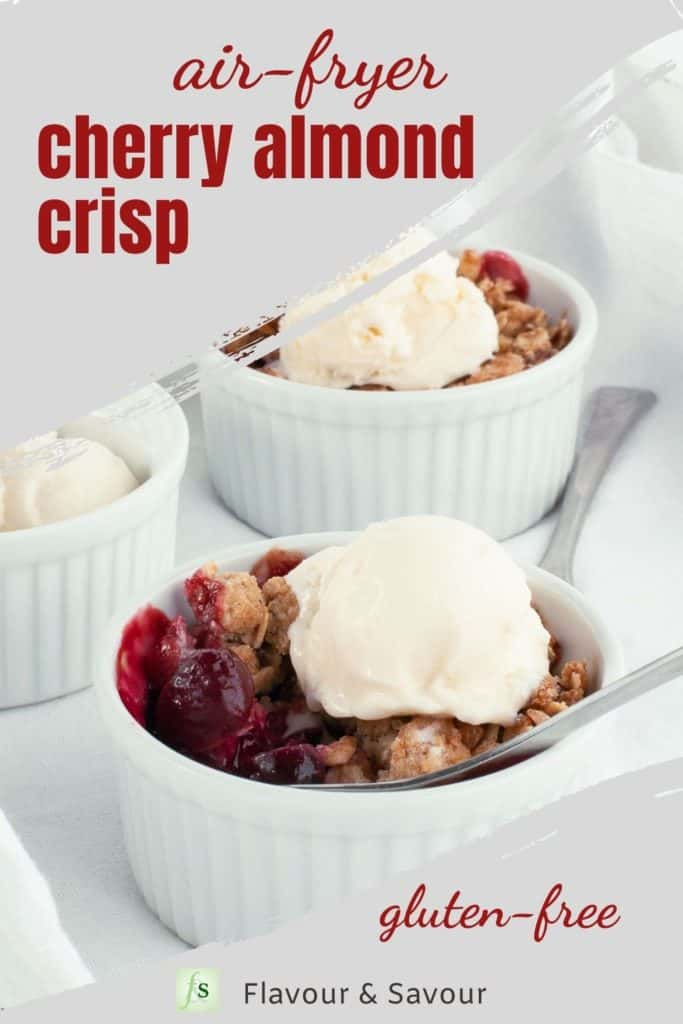Image with text overlay Air Fryer Cherry Almond Crisp
