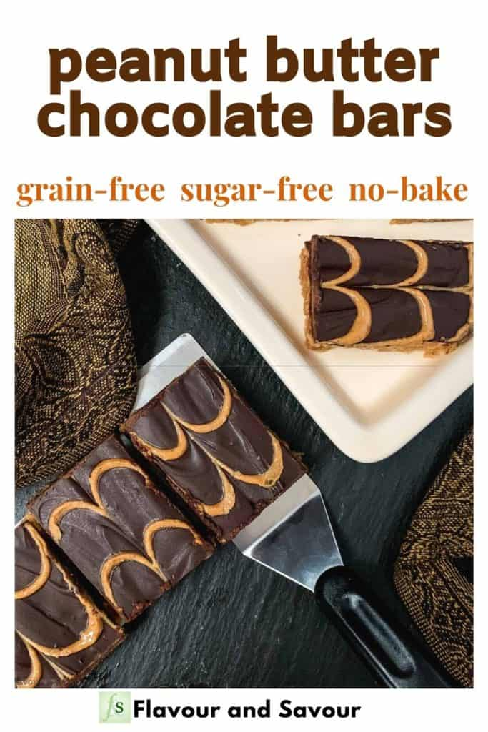 image with text overlay for Peanut Butter Chocolate Bars