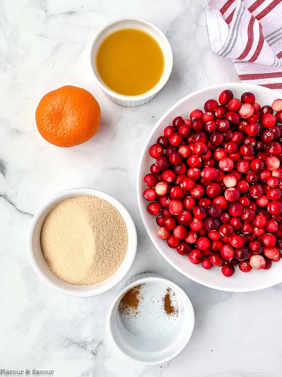 Ingredients for Sugar-Free Cranberry Orange Sauce