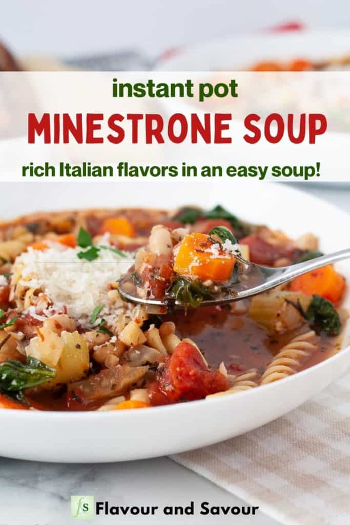 Image and text overlay for Instant Pot Easy Minestrone Soup
