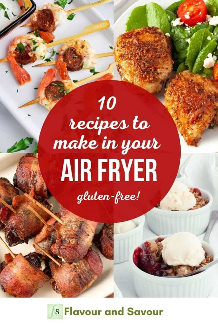 Image and text overlay for 10 recipes to make in your air fryer